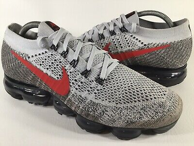 Nike Air Vapormax Flyknit Pure Platinum Red Grey White Size 9 5 Rare