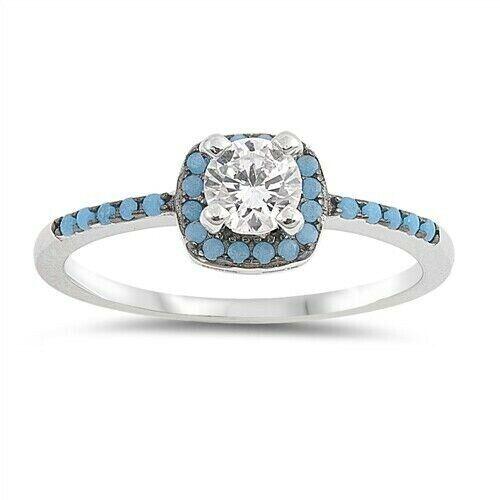 Anneau Véritable Argent Sterling 925 Bijoux en Turquoise Cadeau face HAUTEUR 7 mm taille 9