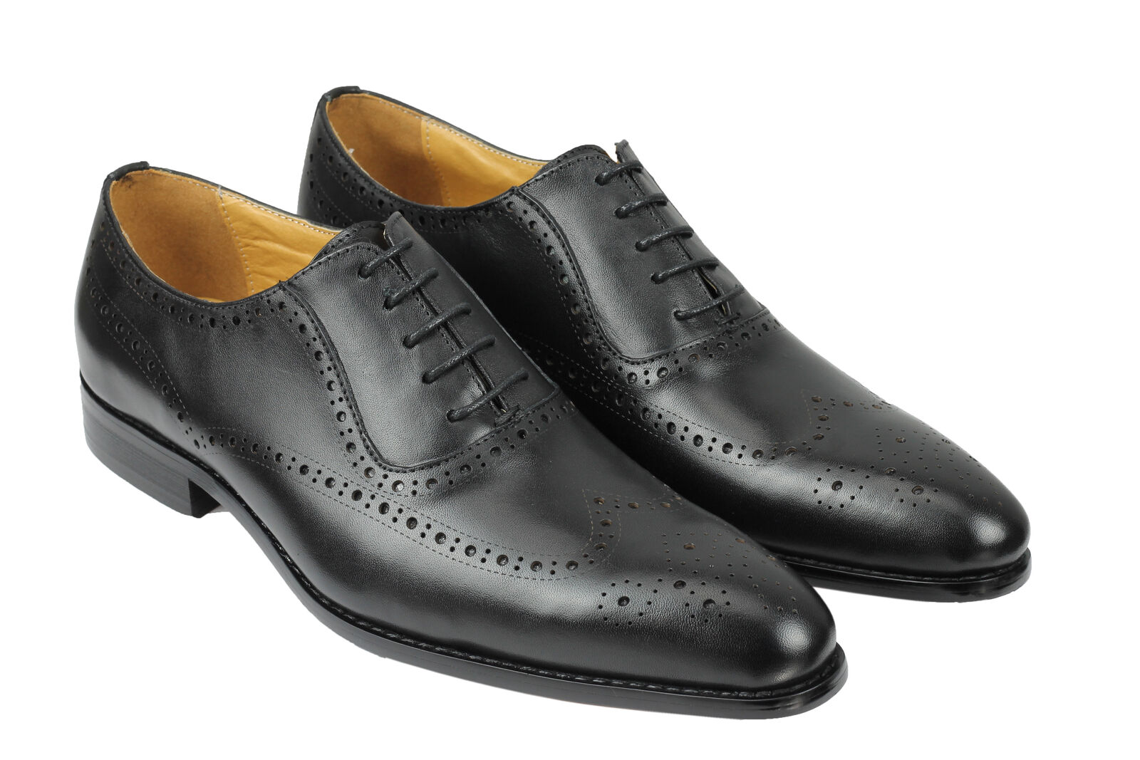 Mens Classic Black Black Black Genuine Real Leather Lace up shoes Smart Formal Retro Brogues a4e96b