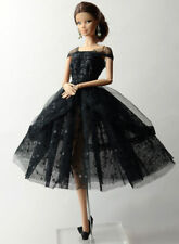 Fashion Black Lace Skirt Evening Dress Outfit Gown Clothes For Barbie Doll E01