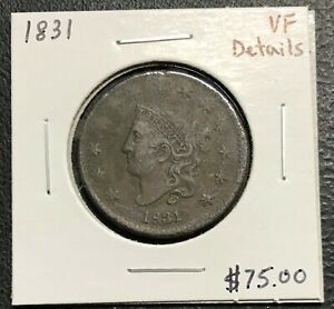 1831-U-S-CORONET-HEAD-LARGE-CENT-VERY-FINE-DETAILS-2-95-MAX-SHIPPING-C2839
