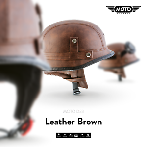 MOTO-D33-LEATHER-BROWN-CASCO-DEMI-JET-VESPA-SCOOTER-HELMET-RETRO-S-M-L-XL-XXL