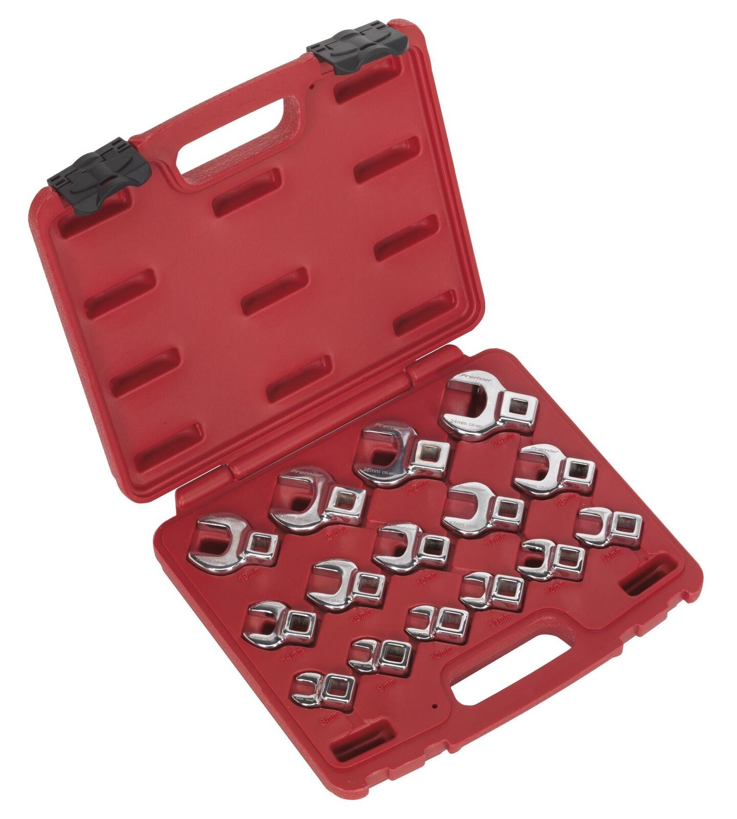 Sealey AK59891 Crow's Foot Open End Spanner Set 15pc 3 8 Sq Drive Metric