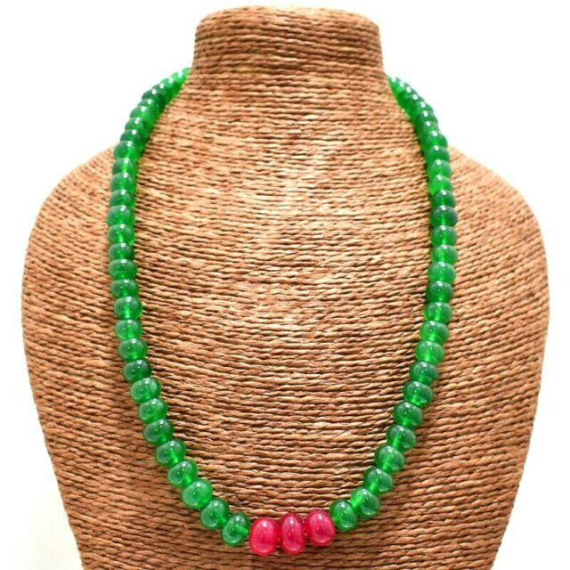 505.00 Cts Earth Mined Single Strand Ruby Round Carved Beads Necklace NK 12E36