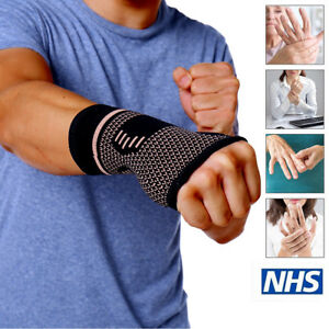 5f149bf18c Details about Copper Infused Wrist Sleeve Palm Hand Support Compression  Brace Glove Arthritis