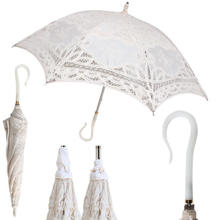 Ladies Stunning Lace Embroidered FANCY Stick Fashion Umbrella Bride Wedding