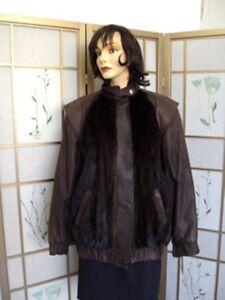8 Mink Dark Mint amp; Brown Women Ranch Fur 6 Leather Jacket Sz Coat ga7Wngrq