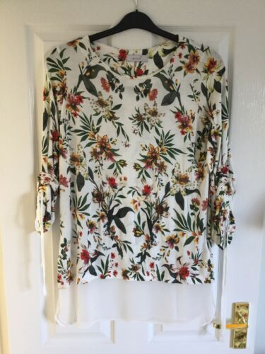 SIZE 14 LONG IVORY MIX PER UNA TUNIC TOP MARKS AND SPENCER