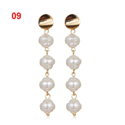 Design Geometric Irregular Circle Metal Gold Baroque Pearl Earrings Drop Dangle