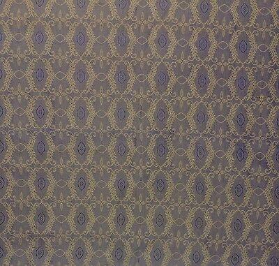"DUPIONI SILK SHALIMAR BLUE TAUPE S3005 FLORAL TRELLIS JACQUARD FABRIC BTY 54""W"