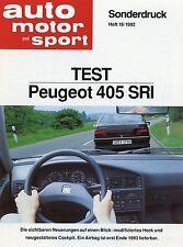 Peugeot 405 SRI Test Sonderdruck ams 19 1992 Auto PKWs Frankreich Autotest