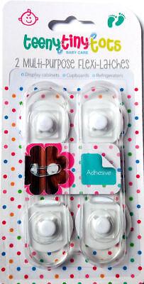 2 Multiuso Flexi Serrature Baby Safe Door Lock Kids Adesiva Armadi Nuovi- Chiaro E Distintivo