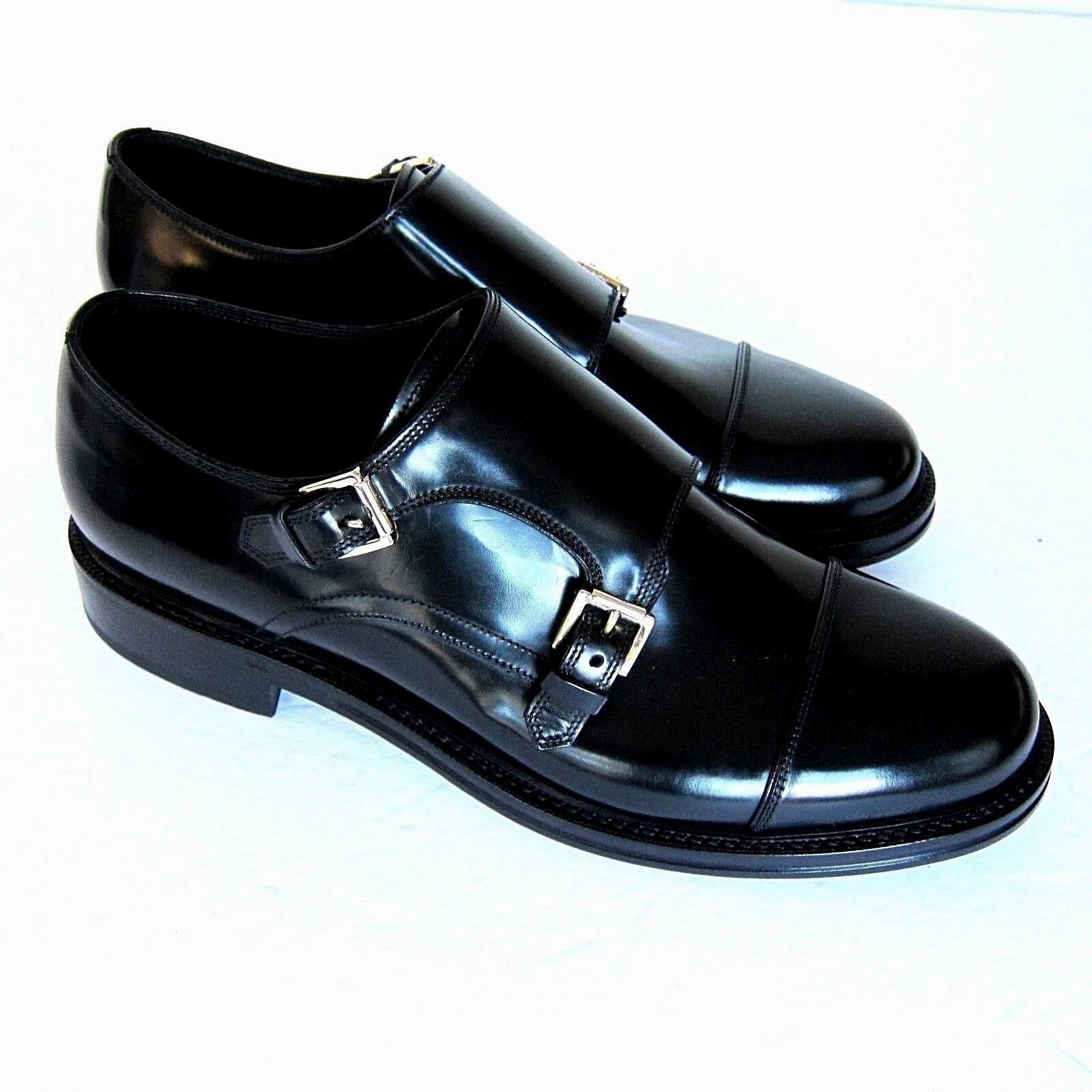J-3060252 New Brioni Black Double Monk Buckle Dress shoes Size US 10 Marked 9