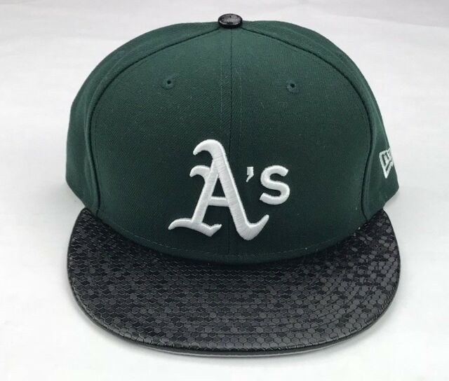 temperament shoes latest fashion new high Oakland A's Era 59fifty MLB Black Tile Visor Green Fitted Hat Size ...