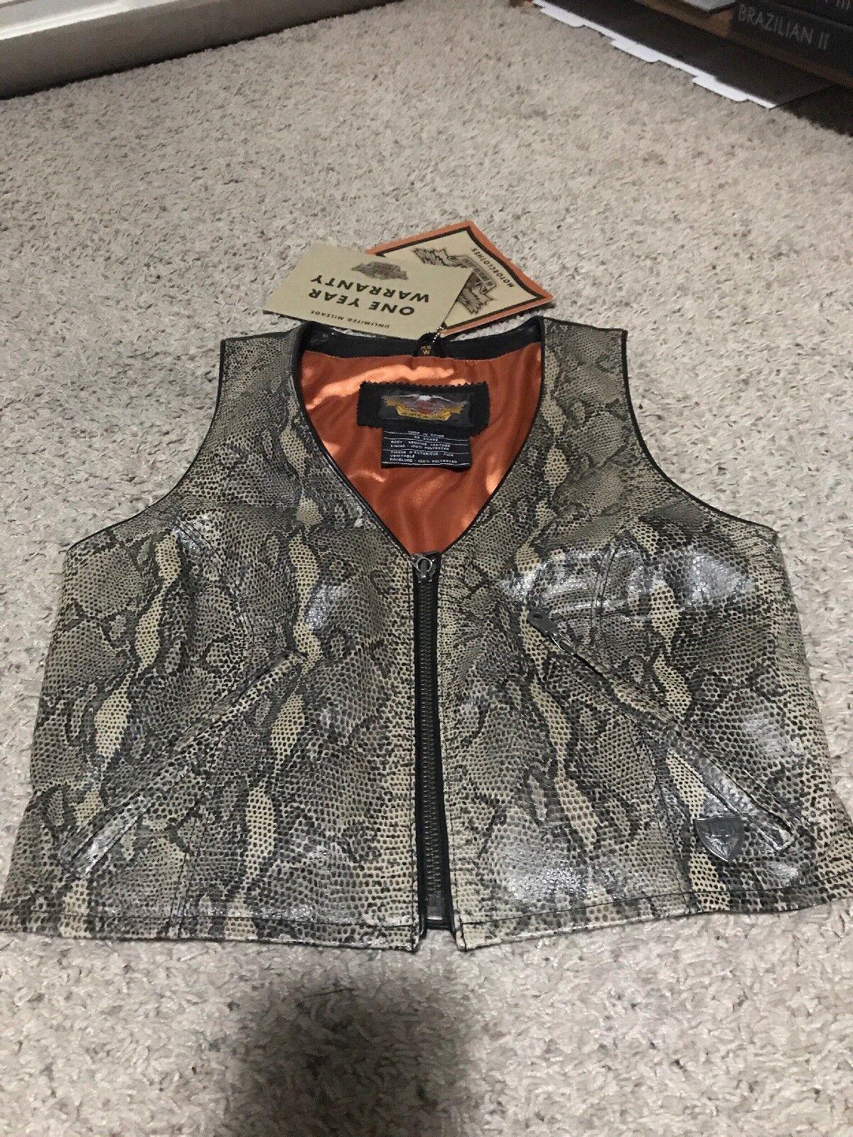 New HARLEY DAVIDSON Motorcycle Women XS Biker Vest 100% Leather Snake Python