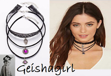Set Of 3 Gothic Black Cord Purple Victorian Choker Collar Necklace UK Seller
