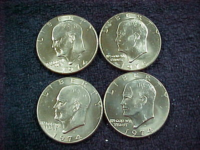 2 COINS 1974-P AND 1974-D  UNCIRCULATED  EISENHOWER DOLLARS IN MINT CELLO