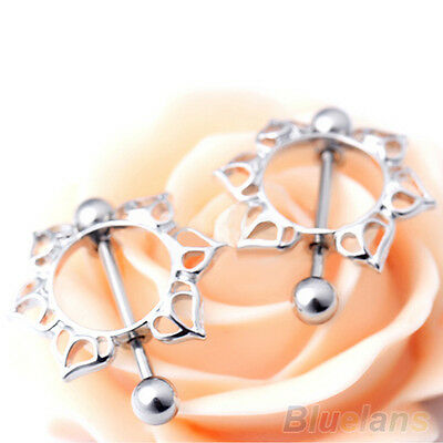 2Pcs Surgical Steel Floral Circle Nipple Shield Ring Bar Body Piercing Jewelry