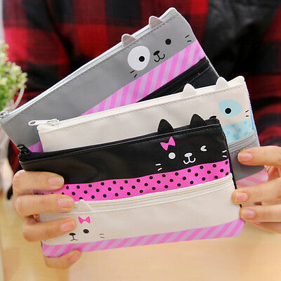 Cute Cat Canvas Pen Pencil Case Cosmetic Makeup Coin Pouch Zipper Bag Purse WK