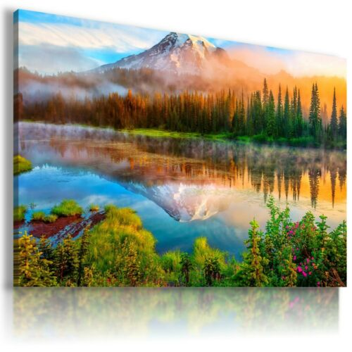 MOUNTAIN RIVER FOREST View Canvas Wall Art Picture Large L159 MATAGA NO FRAME