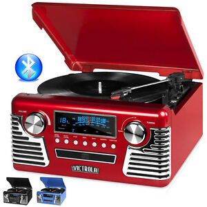 victrola 50 39 s retro record player stereo bluetooth usb encoding cd v50 200 red ebay. Black Bedroom Furniture Sets. Home Design Ideas