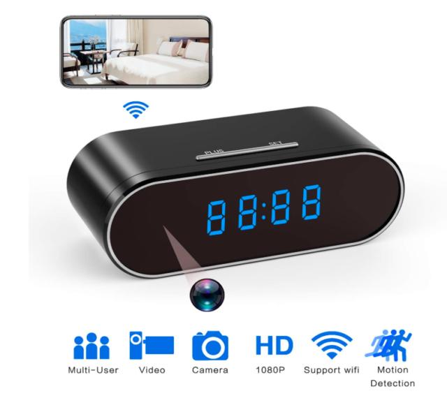 HD 1080P Surveillanc Wifi Camera Motion Security Alarm Clock IR Nanny Camera DVR