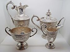 Antique Victorian Silver Four piece Tea set Sheffield 1900 – Harrison Bro 2,220g