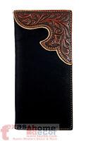 Western Bi-fold Men's Rodeo Wallet Black Brown Floral Genuine Tooled Leather