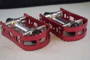 "VICTOR VDX 1//2/"" red platform pedals NOS Old school BMX VP-555 Shimano Haro DX"