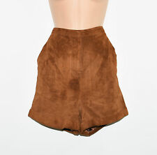 Vintage Brown Suede Leather MONKI High Waist Hot Pants Shorts Size L
