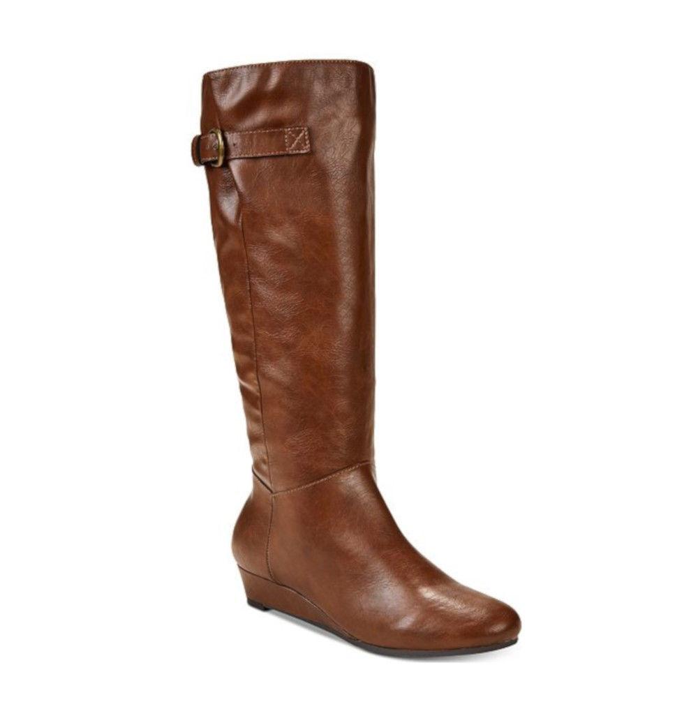 Style Co Rainne Wedge Riding Boots Cognac Org Retail 79.50 Multi Sizes