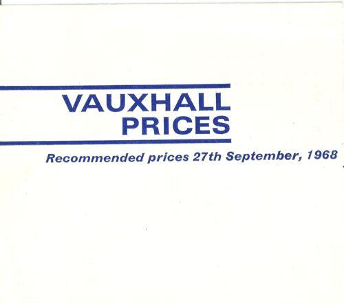 VAUXHALL listino prezzi 1969my v1900 09//68 UK