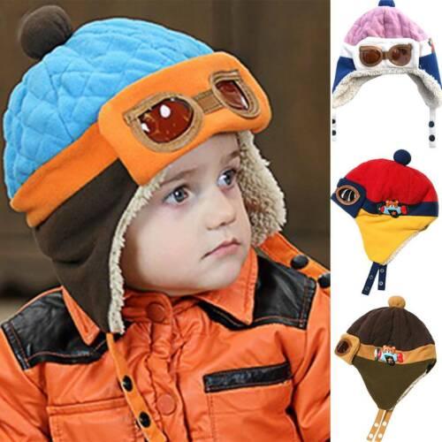 Baby Kinder Wintermütze Warm Beanie Hut Pilotenkappe Fliegermütze Schlupfmützen