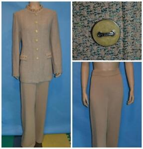 St. John Collection Knits Beige Jacket & Pants L 12 10 2pc Suit Green Trims