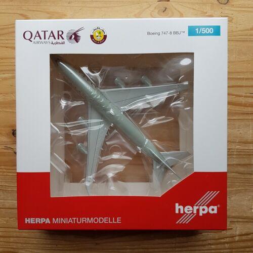 Herpa 533935-1//500 qatar amiri Flight boeing 747-8 Nightriders-nuevo