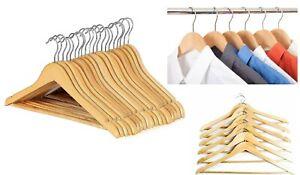 10-x-Wooden-Coat-Hangers-Wood-Coat-Hanger-Clothes-Garment-Suit-Shirt-Trouser