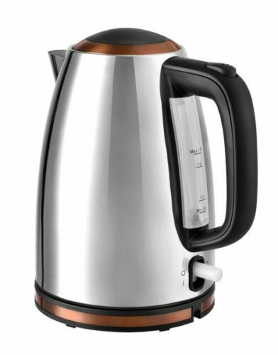 Edelstahl-Wasserkocher 1,7 Liter 3000 W kupfer chrom schnurlos NEU*91981