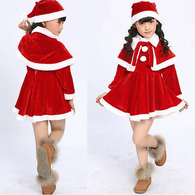 bfae5a8d6357a 3PCS Baby Kids Girl Christmas Costume Party Dress + Shawl + Hat Cosplay  Outfits | eBay