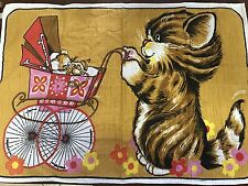"""Vintage Mid Century Garcia Towel Baby Cat and Mouse Stroller Print 17"""" H x 26"""" L"""