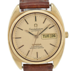 Auth-OMEGA-Constellation-18K-Gold-Bezel-Cal-1021-Automatic-Men-039-s-Watch-H-B1937