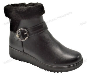 New-Women-039-s-Winter-Boots-Buckle-Fashion-Zipper-Ankle-Warm-Fur-Lined-Shoes-Sizes