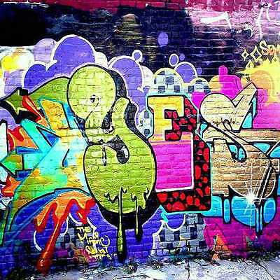Graffiti wall 10'x10' CP Backdrop Computer printed Scenic Background zjz-553