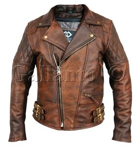 Classic Diamond Motorcycle Biker Brown Distressed Vintage Leather