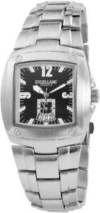 Excellanc-Herrenuhr-Schwarz-Silber-Analog-Datum-Metall-Armbanduhr-X284021000129