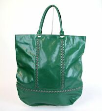 $1789 New Auth BOTTEGA VENETA Green Leather Tote Bag Woven Detail Unisex 296558