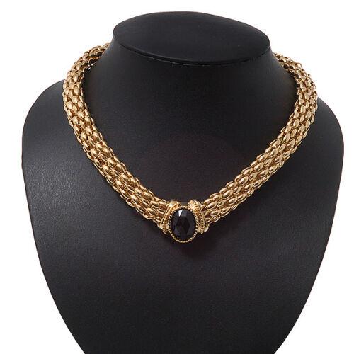 Malla Magnético Gargantilla Collar Chapado En Oro Con Piedra Negra-longitud 38cm
