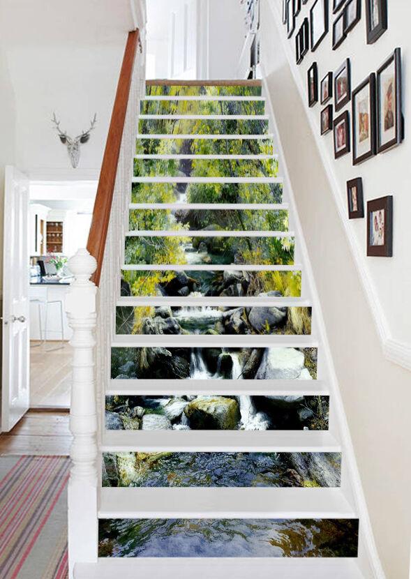 3D Schwan 645 Stair Risers Dekoration Fototapete Vinyl Aufkleber Tapete DE