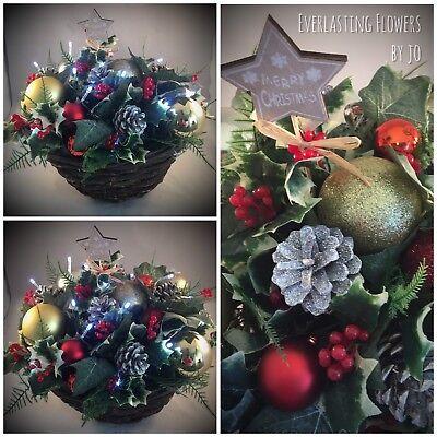Christmas Hanging Baskets.Christmas Outdoor Garden Hanging Basket Artificial Baubles Fur Cones Lights Ivy Ebay