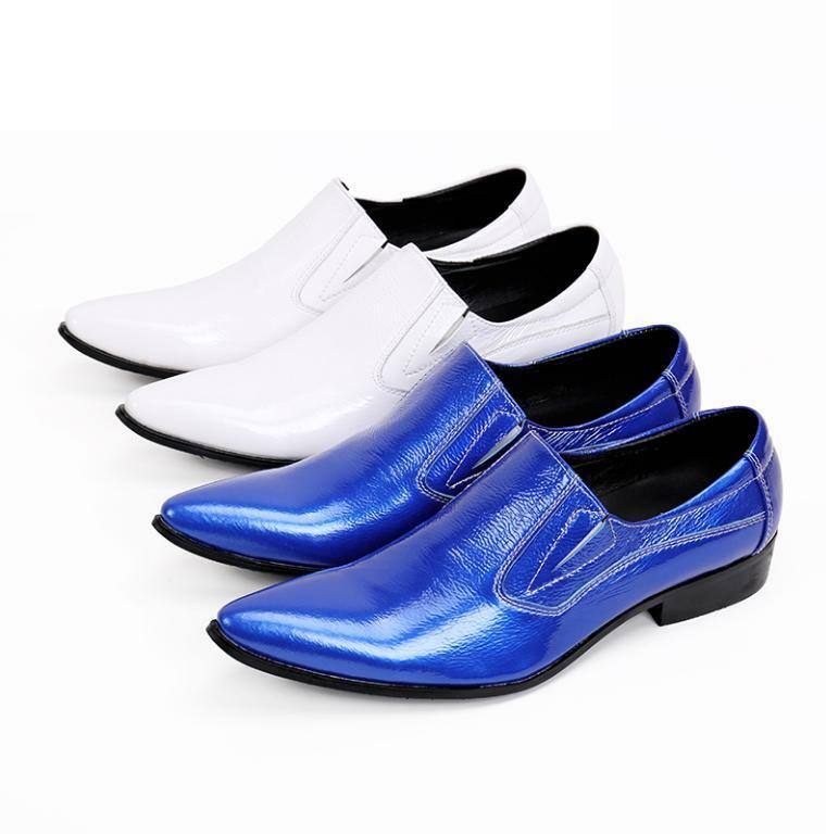 Men's Slip On Brogues Leather Formal Business Pointy Toe Wedding shoes New