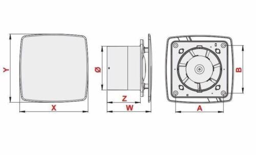 Estrattore Bagno Ventilatore 100mm con pannello frontale in acciaio inox moderno Ventilatore